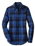 Camping World RV Blue Plaid Flannel Shirt Ladies Tunic